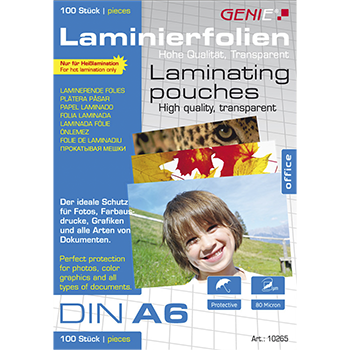 Laminierfolien (DIN A6 80 Mikron) 100er Pack