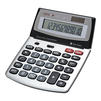 12-digit design desktop calculator with dual power (solar and battery) and jumbo display