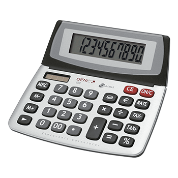 10-digit business desktop calculator with dual power (solar and battery) and jumbo display