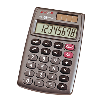 8-digit pocket calculator with dual power (solar and battery),