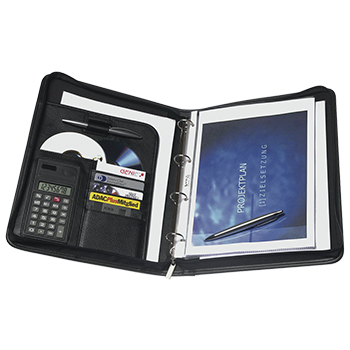 A4 Conference Folder with ring binder and pocket calculator