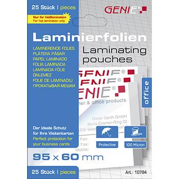Laminierfolien (100 Mikron im Visitenkartenformat 95 x 60 mm) 25er Pack
