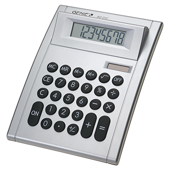 8-digit desktop calculator with dual power (solar and battery)