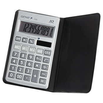 10-digit flat pocket calculator with dual power (solar and battery) and protective case