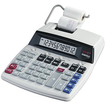 Printing desk calculator, 12-digit calculator with red and black print
