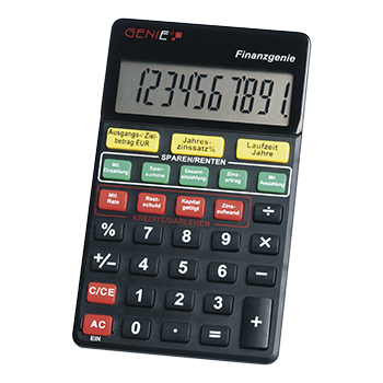 10-digit pocket calculator (button printing on interest rates, maturities, instalments, savings) black