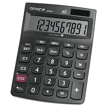 10-digit desktop calculator with dual power (solar and battery), jumbo display, compact design) black