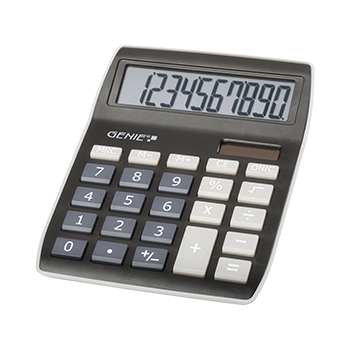 10-digit desktop calculator with dual power (solar and battery), black