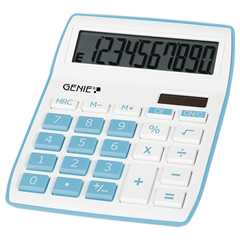 10-digit desktop calculator with dual power (solar and battery), blue
