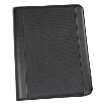 A4 Conference Folder Frankfurt in leather look and structured nylon, with removable ring binder.