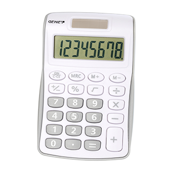 8-digit pocket calculator with dual power (solar and battery), grey