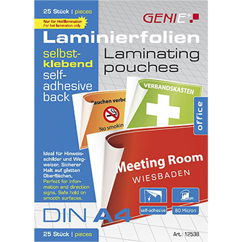 Laminating films (self-adhesive, DIN A4, 80 microns) 25 pack