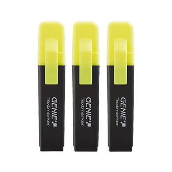 Text marker, yellow  3 x Neon yellow with wedge tip,  Pack of 3, width approx. 1 - 5 mm, individually Removable