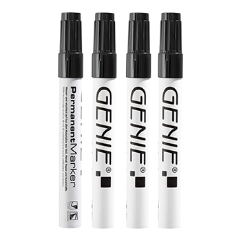 Permanent marker, black  Pack of 4 with 1-3 mm round tip and metal shank