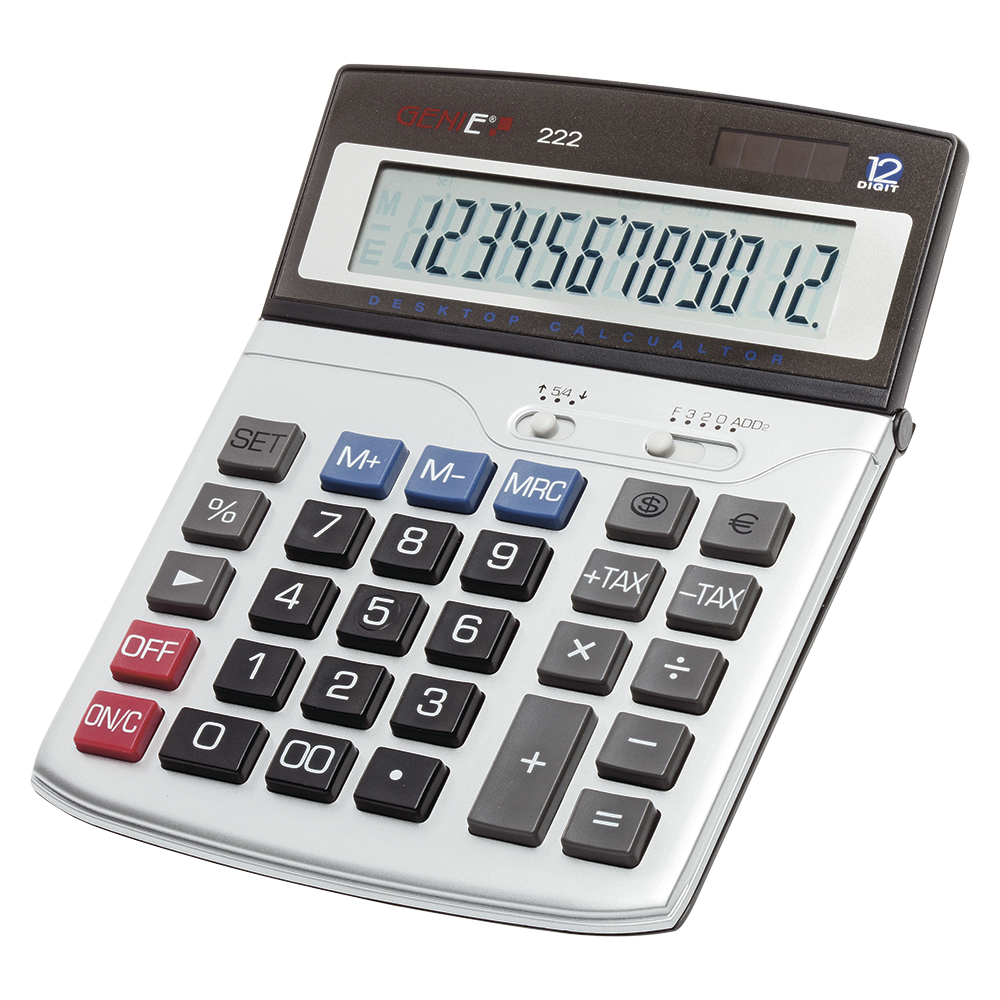 12-digit business desk calculator with dual power (solar and battery)