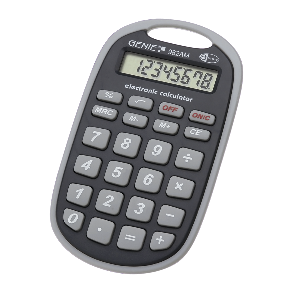 8-digit pocket calculator (eyelet, battery power, robust design) grey