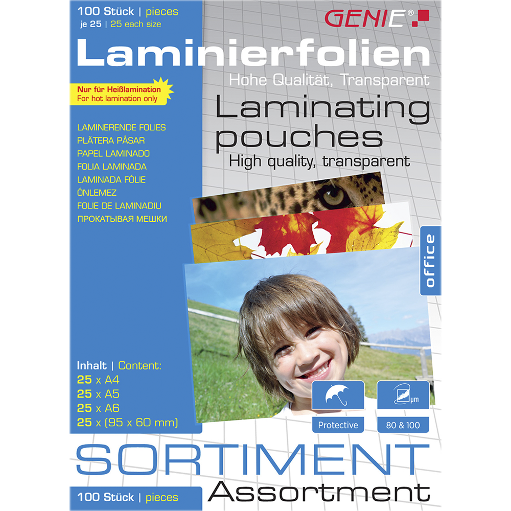 Laminating pouches assortment pack (assorted) 100 pieces