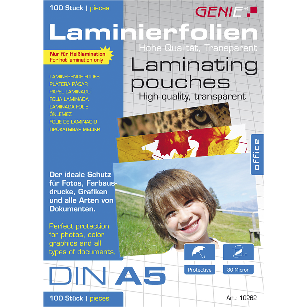 Laminating pouches (DIN A5 80 microns) 100 pack