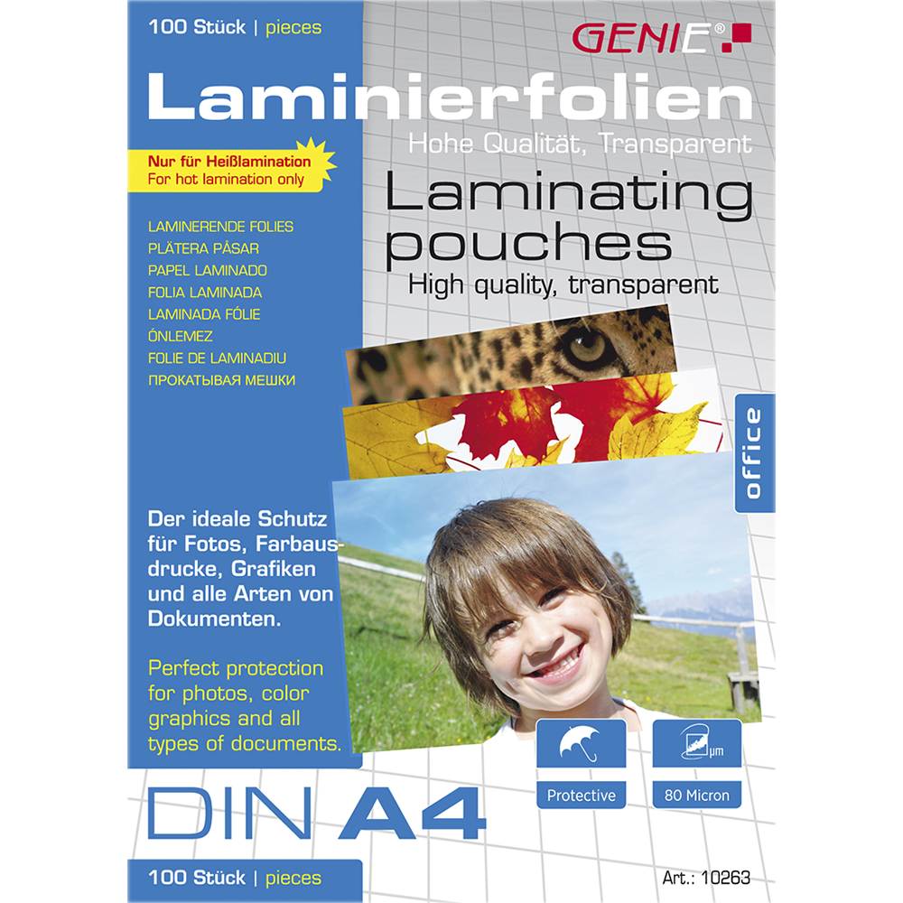 Laminating pouches (DIN A4 80 microns) 100 pack