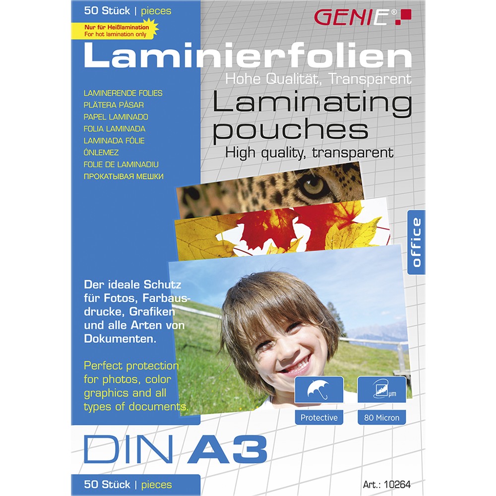 Laminating pouches (DIN A3, 80 micron) 50 pack