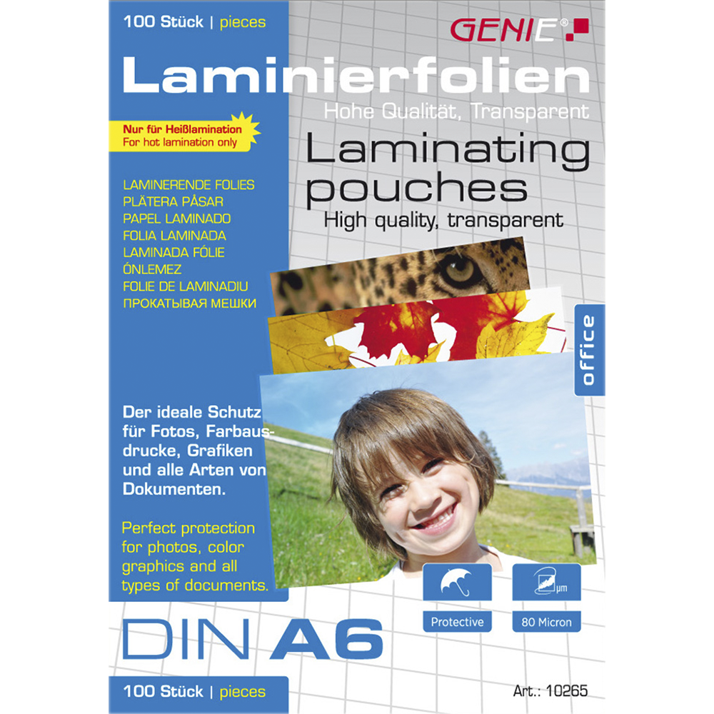 Laminating pouches (DIN A6 80 microns) 100 pack