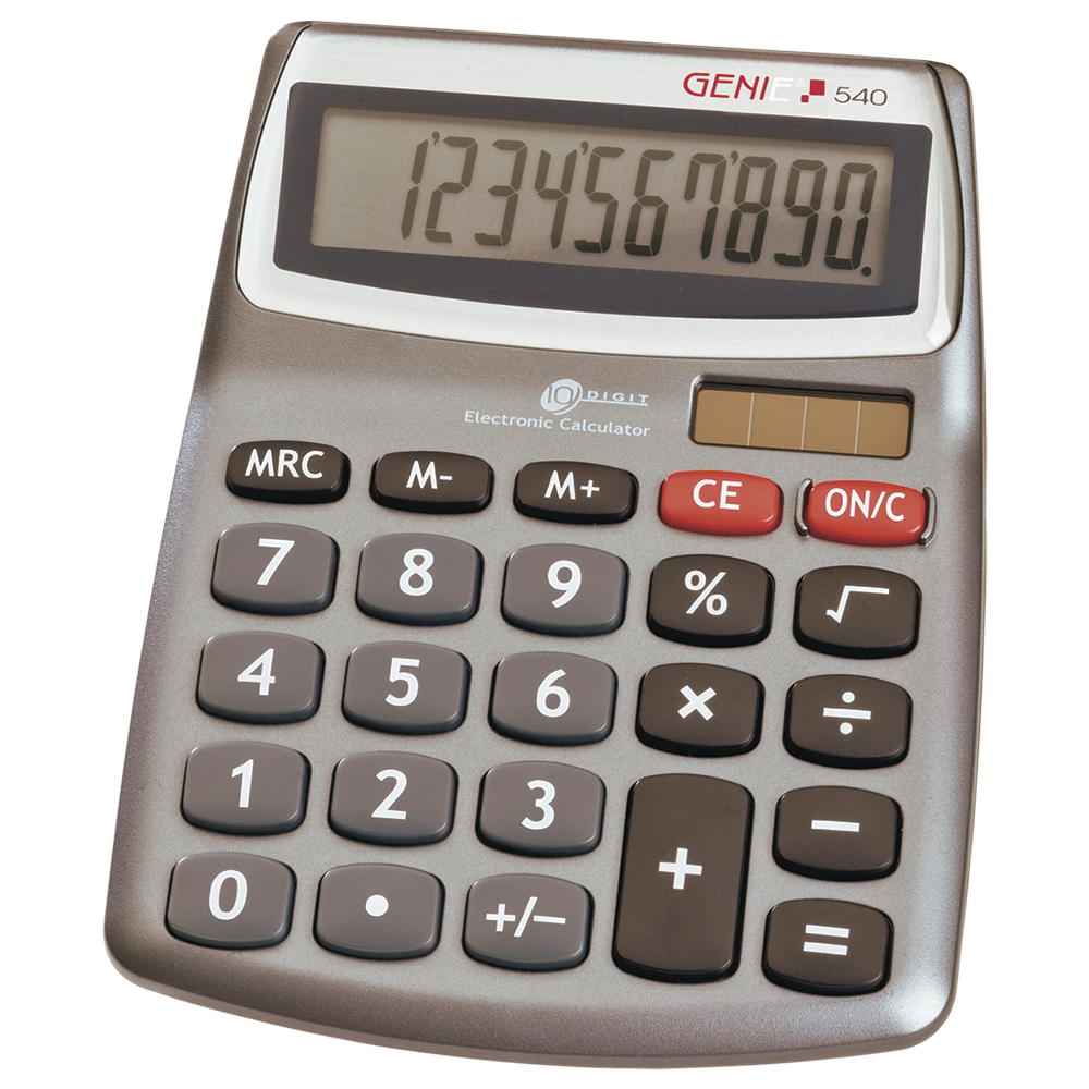 10-digit desktop calculator with dual power (solar and battery)