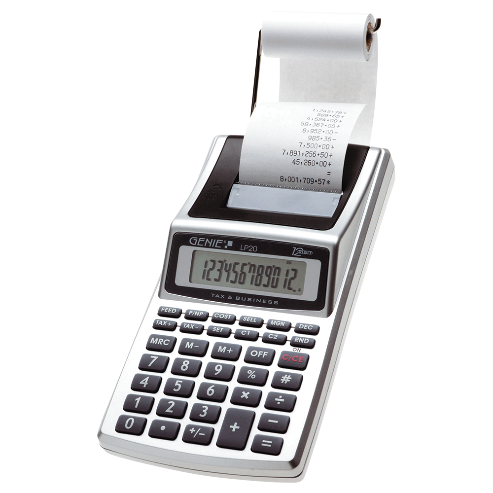 Printing desk calculator, 12-digit calculator and black printing