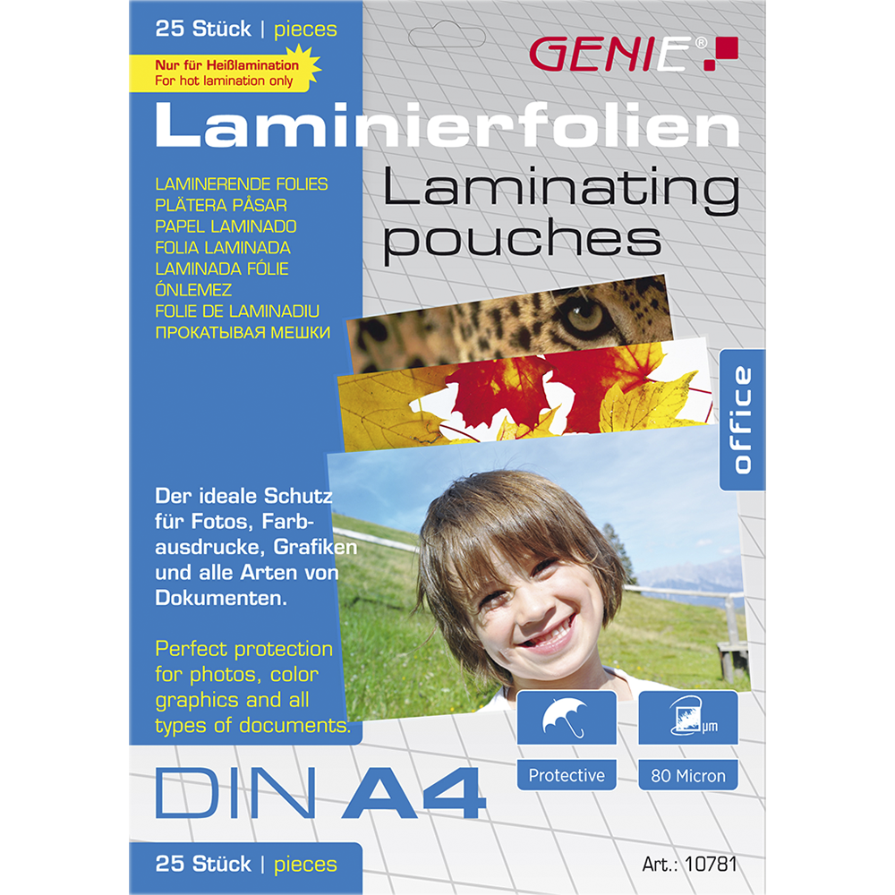 Laminating pouches (DIN A4, 80 microns) 25 pack