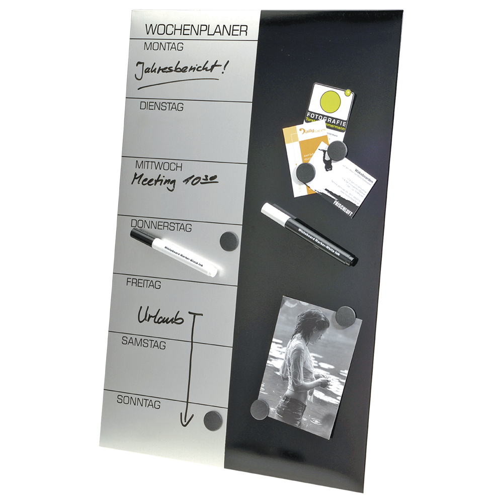 Weekly planner writing board, incl. Pens, magnets and wall mounting, 57 x 37 cm