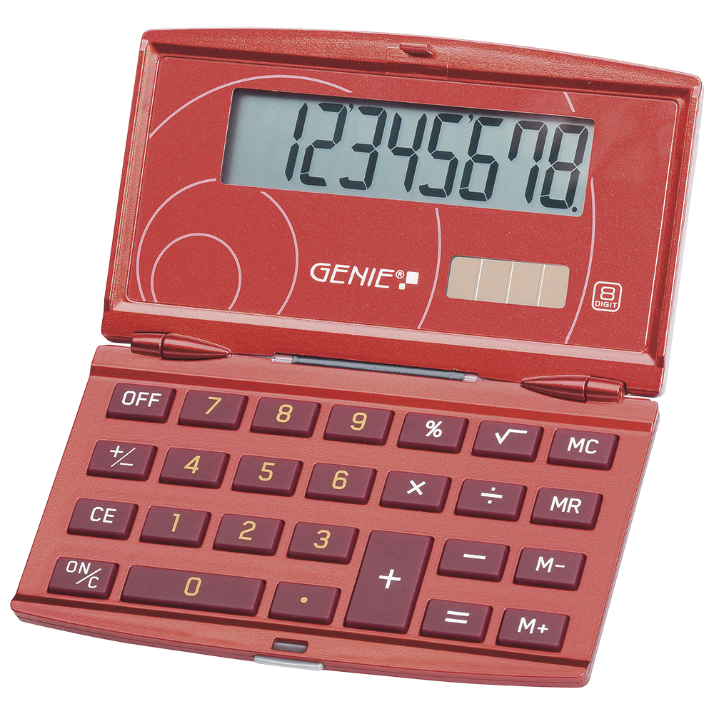 8-digit folding pocket calculator with dual power (solar and battery), red