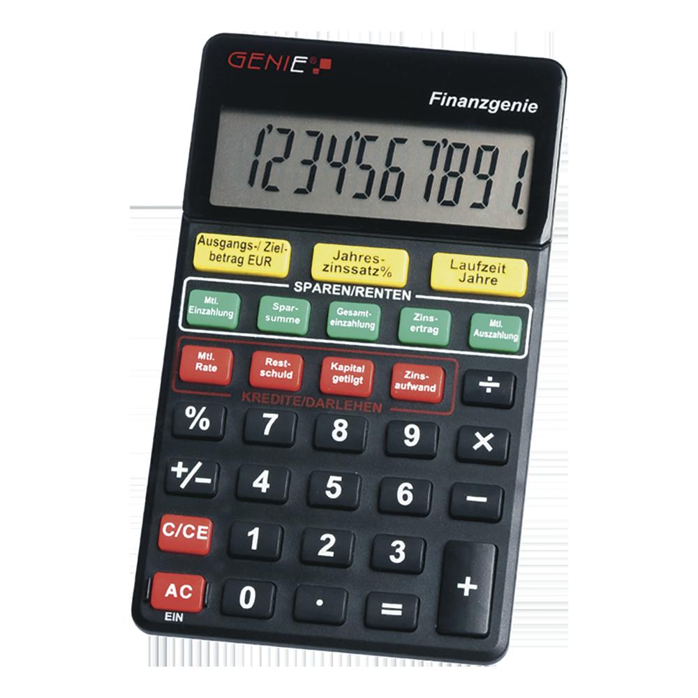 10-stelliger Taschenrechner (Knopfdruck zu Zinsen, Laufzeiten, Raten, Ansparungen, Sparsummen)