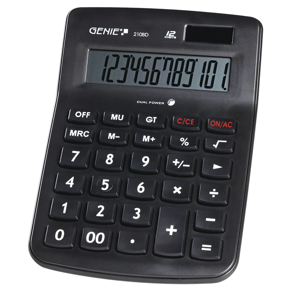 12-digit desk calculator with dual power (solar and battery) and jumbo display