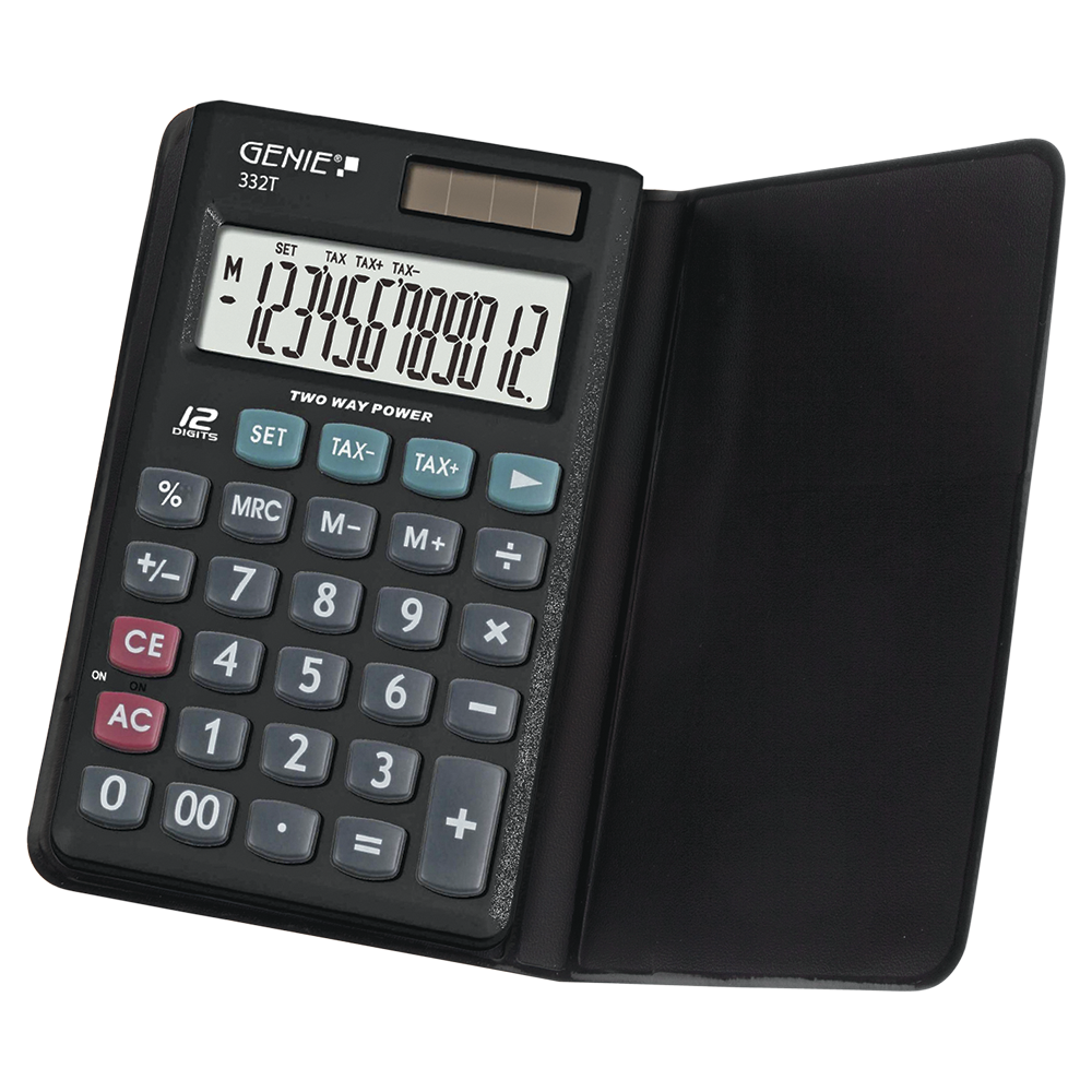 12-digit business calculator with dual power (solar and battery) and protective case