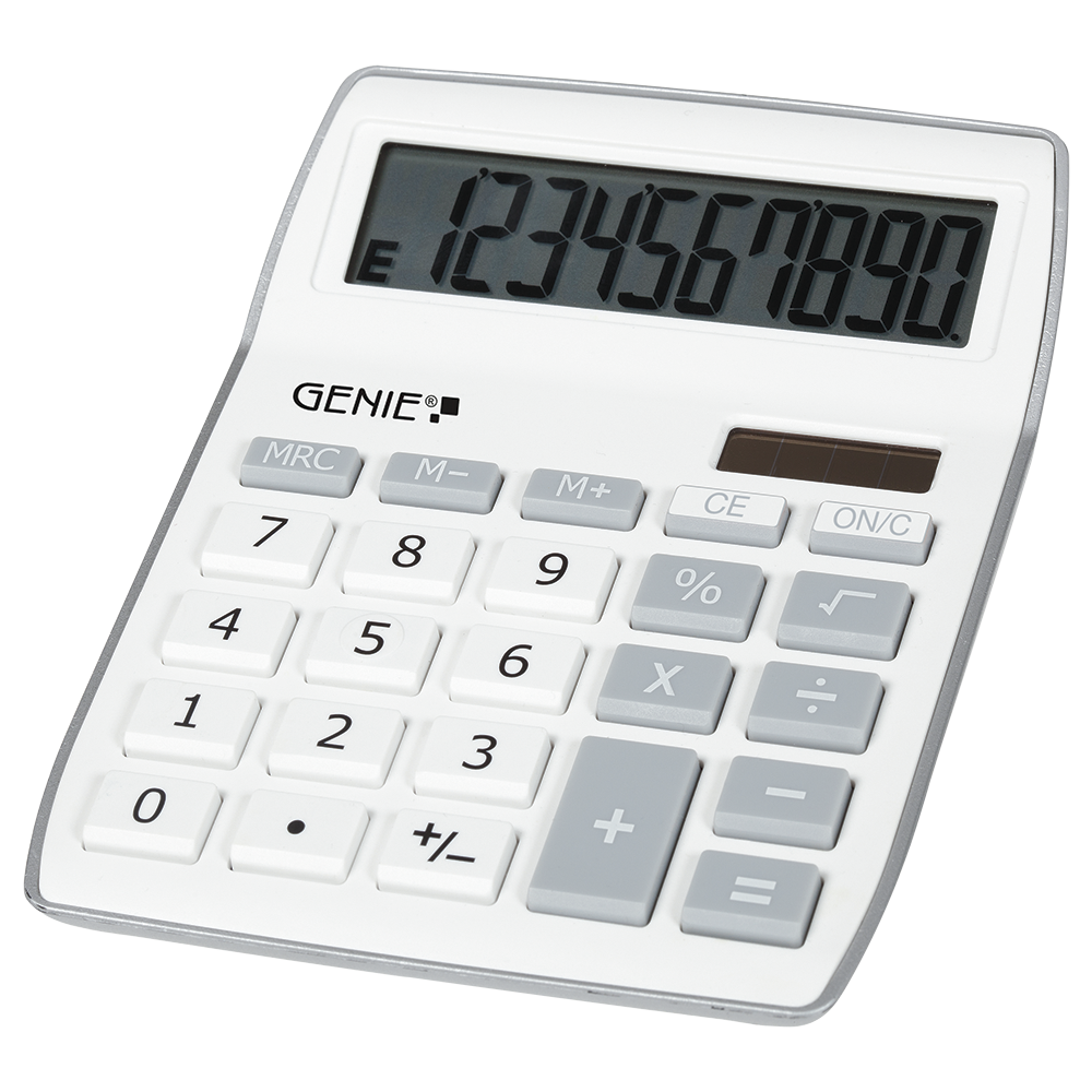 10-digit desktop calculator with dual power (solar and battery), grey