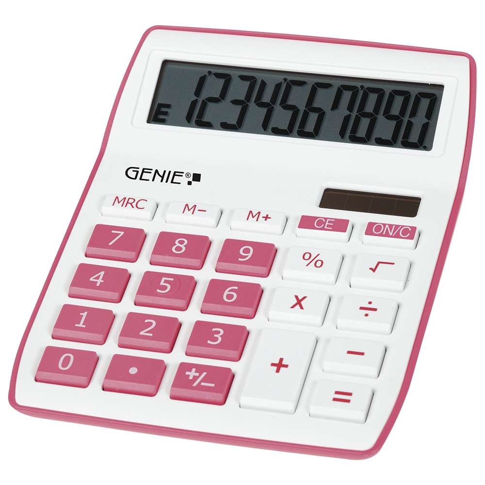 10-digit desktop calculator with dual power (solar and battery), pink