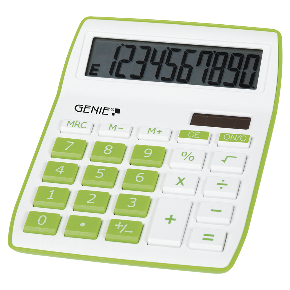 10-digit desktop calculator with dual power (solar and battery), green