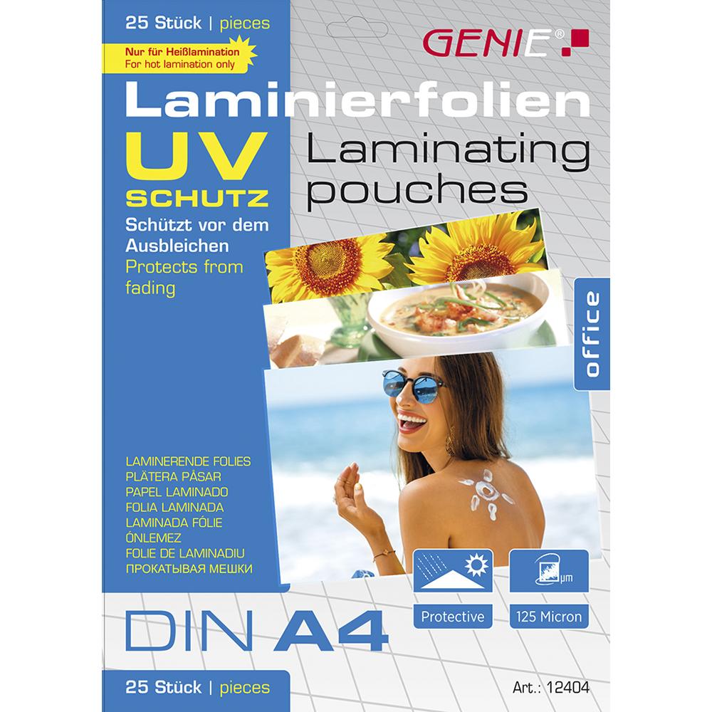 Laminierfolien (DIN A4, mit UV Schutz, 125 Micron, UV beständig) 25er Pack