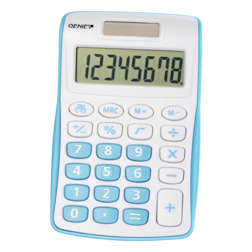 8-digit pocket calculator with dual power (solar and battery), blue