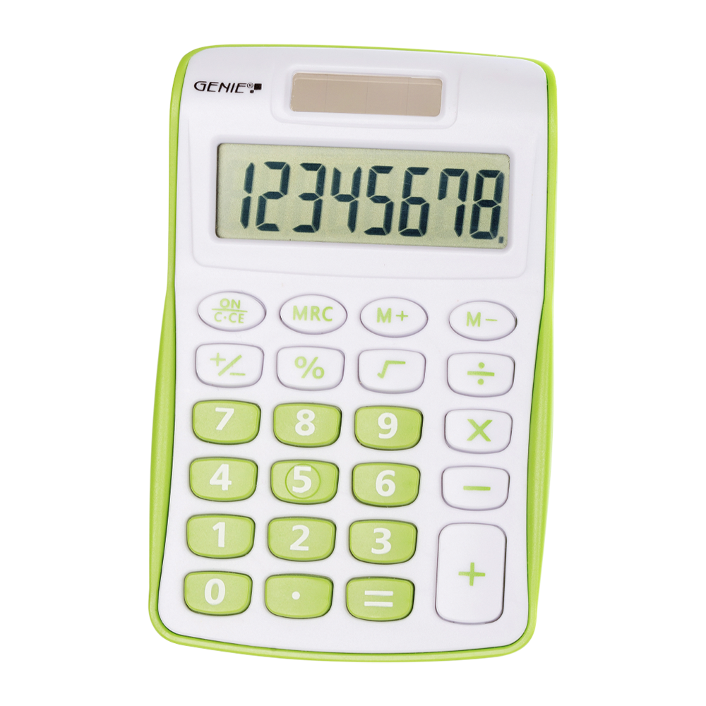 8-digit pocket calculator with dual power (solar and battery), green