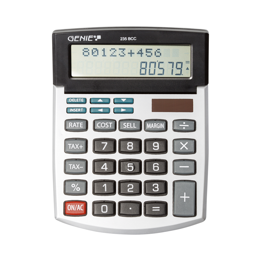 12-digit desktop calculator with dual power (solar and battery) and back check correct function