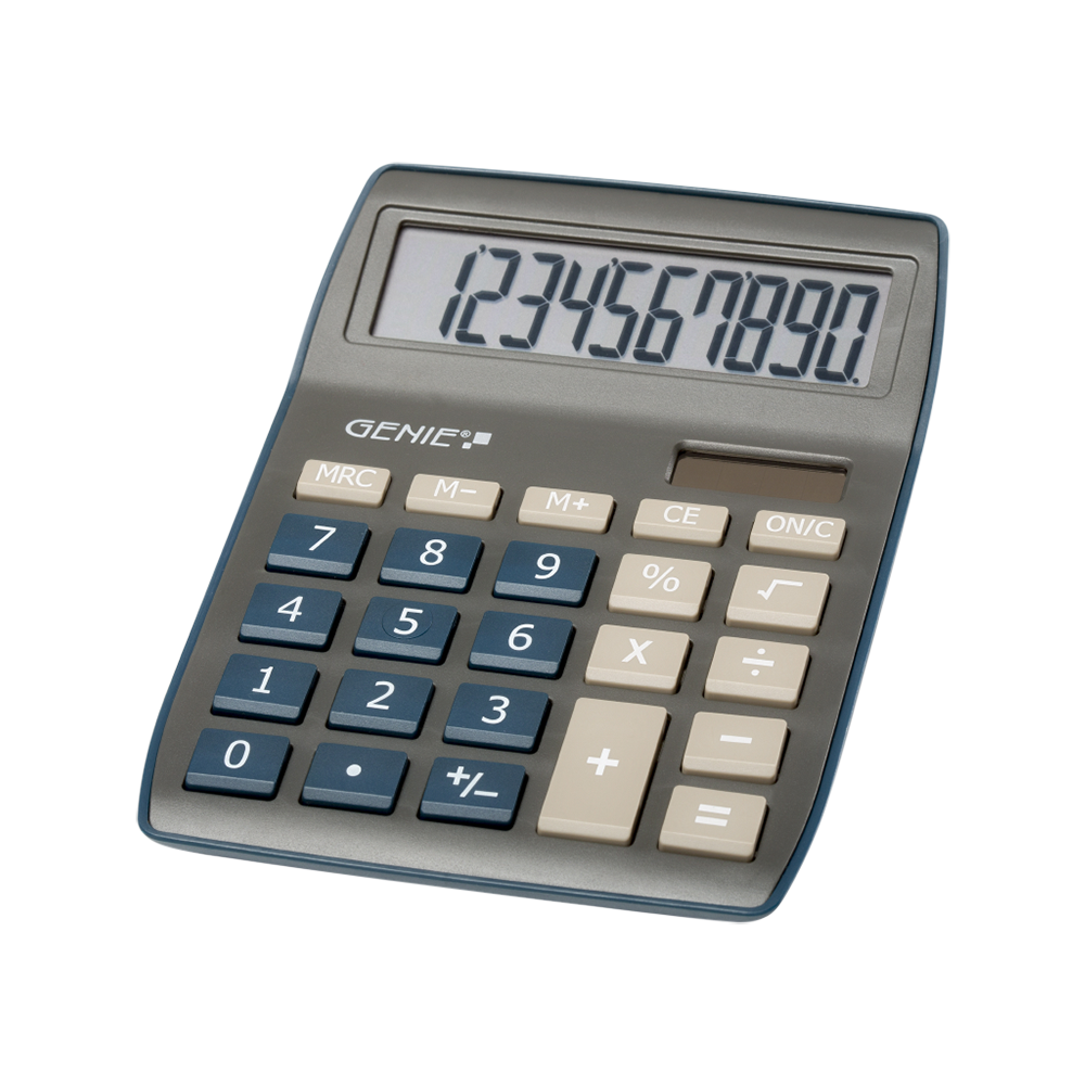 10-digit desktop calculator with dual power (solar and battery), dark blue