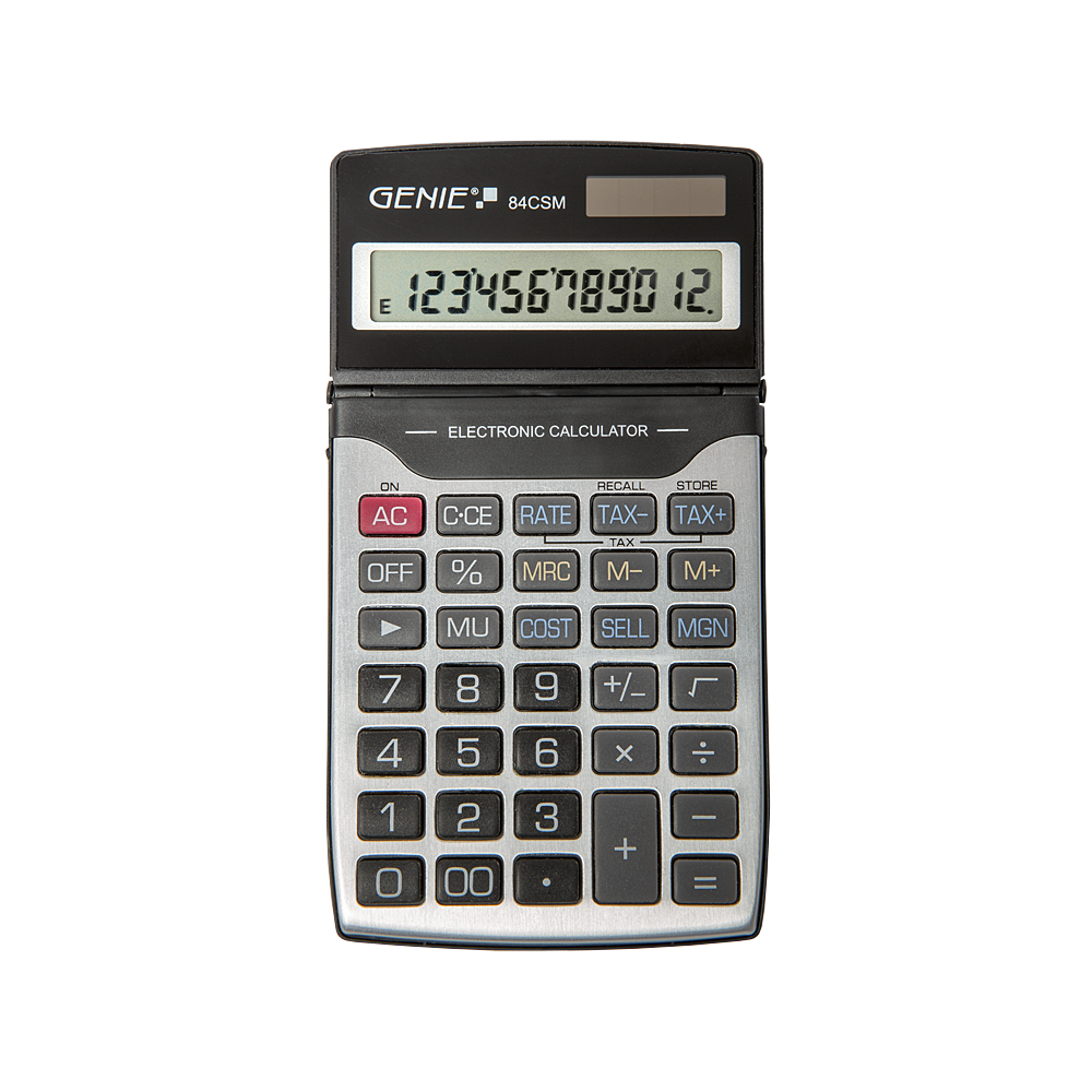 12-digit business pocket calculator with dual power and protective cover