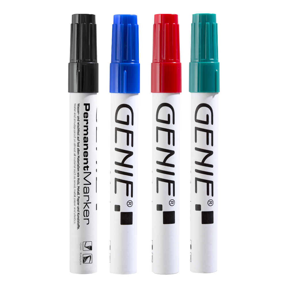 Permanent marker, sorted, with round tip and metal shank, stroke width 1 - 3 mm Pack of 4: 1 x black, blue, red and green