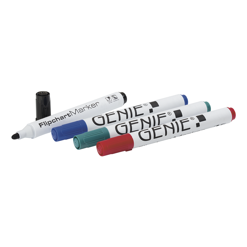 Flipchart marker, sorted, with round tip, stroke width 1 - 3 mm Pack of 4: 1 x black, blue, red and green
