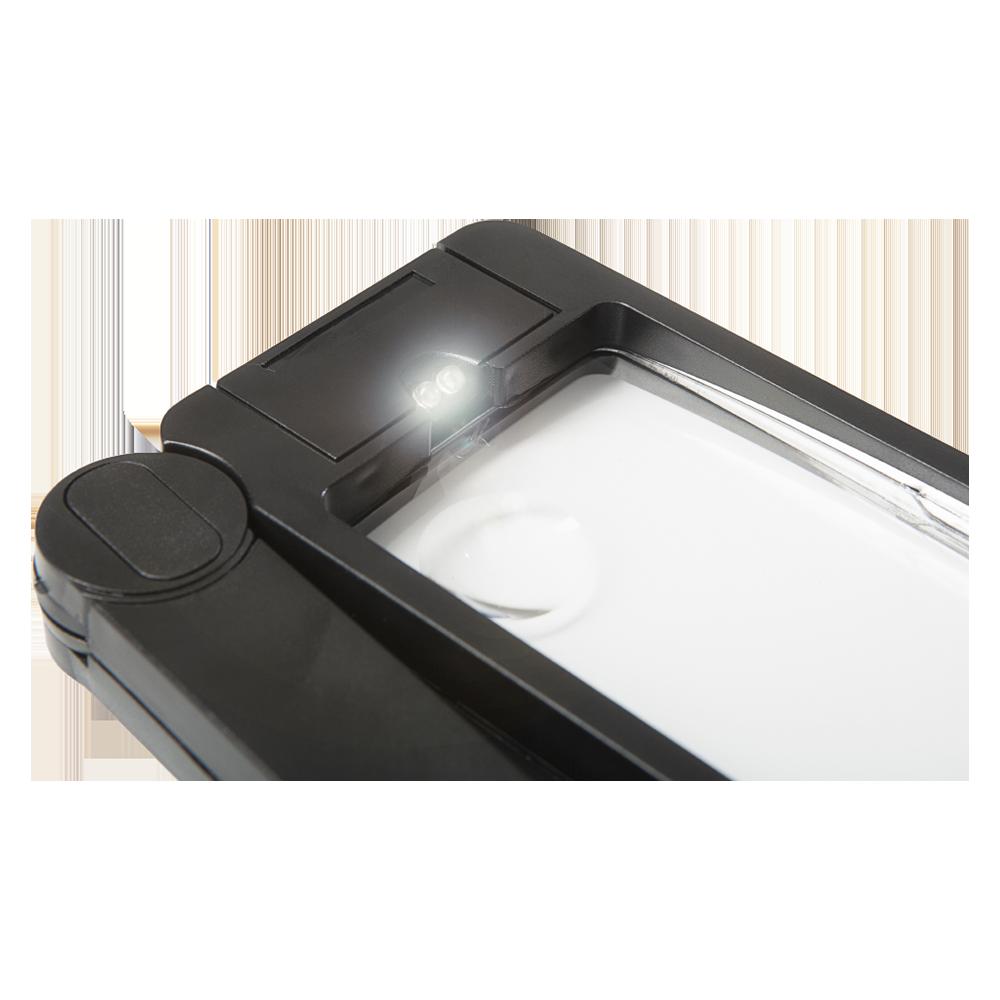 Rechteckige Lupe mit LED-Beleuchtung und klappbaren Griff