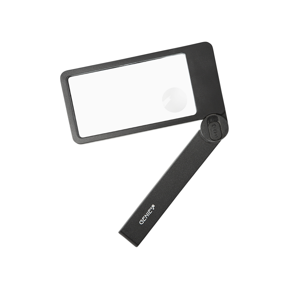 Rectangular magnifier lens with LED lighting and foldable handle