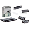 Self-inking stamp set with up to 5 lines