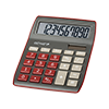 10-digit desktop calculator with dual power (solar and battery), dark red